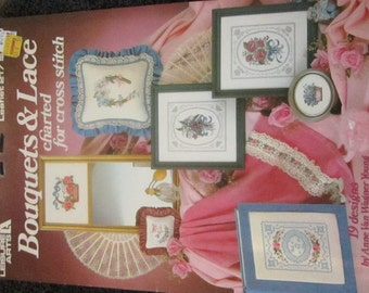 Bouquets & Lace Charted for Cross Stitch Leisure Arts Leaflet 217