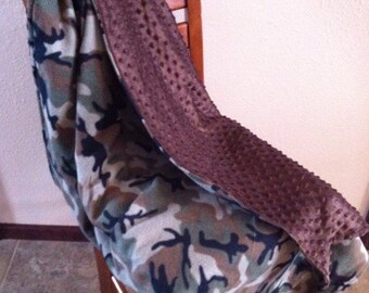 Fleece n minky camo blanket