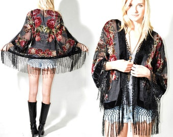 Sheer Silk Burnout Velvet Fringe Hippie Boho Gypsy Beads Festival Kimono Jacket