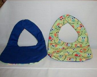 Bibs, Babyville fabric front with bright colored owls.  Royal blue backing.