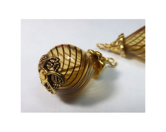 Blown Glass Dangles, Wire Wrapped Charms, Amber With Brown Pinstripes (Set of 2)