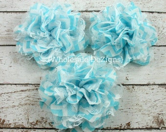 """Clearance Aqua Blue Chevron Chiffon and Lace Flower - 4"""" Full and Fluffy - 4 inches"""