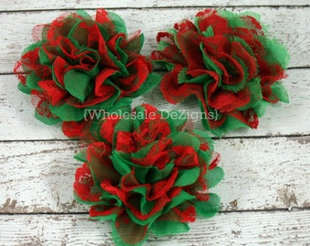 Green and Red Chiffon and Lace Flower - 4 inches - Shabby Wholesale Flowers