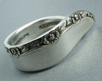 Silver SPOON Ring.  Brittany Rose Spoon Ring. Rose Ring. Brittany Ring . size 6-9 Spoonjewelry No.00174
