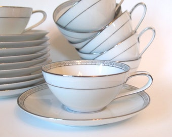 Vintage Teacup Set Fine China Noritake Silver Key - Set of 9 Tea Cups and Saucers  - Circa 1959-1975 - Japan  Mid Century