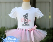Personalized Light Pink and Grey Polka Dots Birthday Tutu Outfit