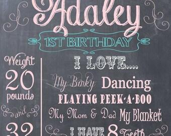 Birthday Chalkboard Memory- Baby's Favorite Stats Print- Custom pdf file for Printing
