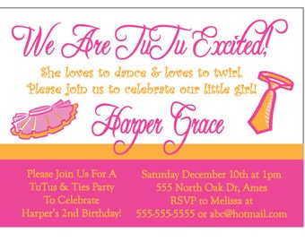 Tutu and Ties Birthday Party Invitation