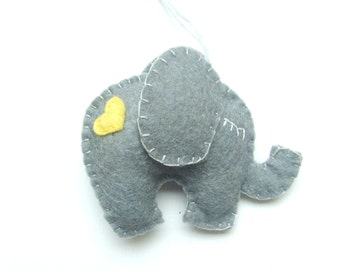 Lovely Elephant ornament - felt ornaments - Christmas/Housewarming home decor - Baby shower ornaments - Grey elephant with yellow heart
