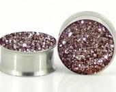 Gold Glitter Sparkle Plugs - 18g,8g,6g,4g,2g,0g,00g,7/16,1/2, 9/16, 5/8,11/16,3/4,7/8,24mm,26mm,28mm,30mm,32mm