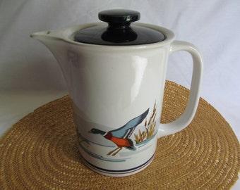 Ceramic Coffee Tea Pot by Epoch with Mallards Waterfowl