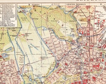 1902 City Map of Leipzig Saxony Germany in the 19th Century Original Dated Antique Map
