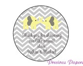 Personalized PRINTED yellow elephant baby shower sticker yellow and gray chevron baby shower favor stickers yellow gray chevron labels