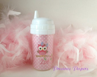 Personalized kids sippy cups owl sippy cup - Personalized Owl personalized cups - Owl kids cups - Night owl kids cups