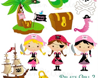 Pirate Girl 2 - Png & Jpeg clip art images.