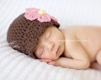 Crochet Hat Pattern Baby Girl Daisy Flower Flapper Beanie Hat  PDF 120 Newborn to Adult  Photo Prop Instant Download