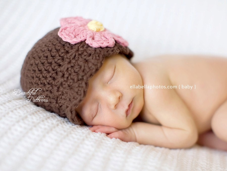 Crochet Pattern Newborn Girl Hat : Crochet Hat Pattern Baby Girl Daisy Flower Flapper Beanie Hat