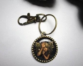 Fairy on a Bronze Key Chain/Fairy Key Chain with Swivel/Gift for Her