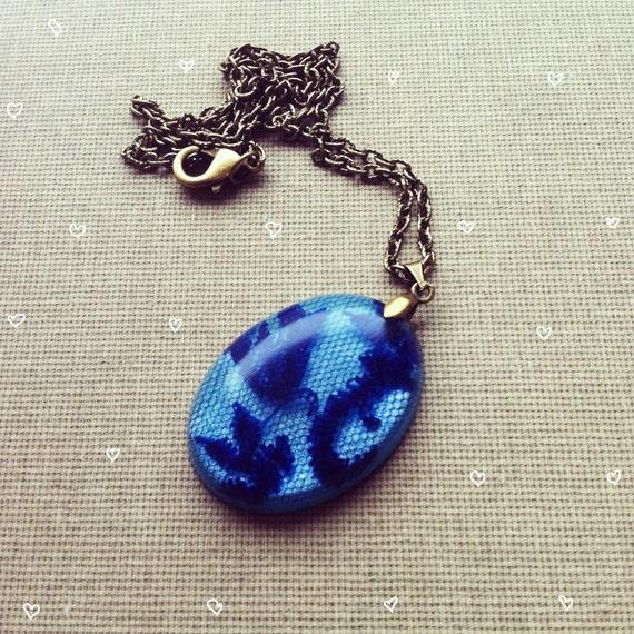 SALE- Blue Lace Resin Necklace Resin Pendant Resin Necklace Resin Jewelry Delicate Rustic Jewelry