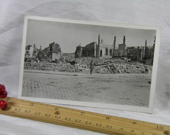 WWI Bar Le Duc, France -  Bombed by Aeroplane -  Soldier's Personal Photograph Postcard