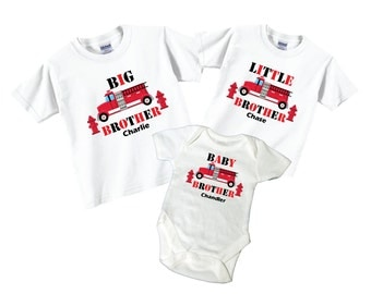 Big Brother, Little Brother, Baby Brother Shirts with Firetruck Tees
