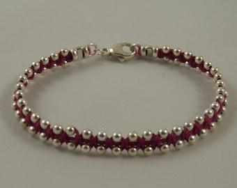 "Sterling Silver Wrap Bracelet ""Silver Lining"" Bracelet on Magenta Pink Irish Linen Cord - Sterling Silver Beaded Bracelet"