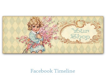 Personalized Facebook Timeline Banner Cover with Vintage Girl with flowers- Digital Download - VINTAGE FACEBOOK TIMELINE