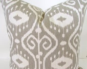 PILLOW Covers Taupe Gray Ikat Decorative Throw Pillows Designer 18x18  Tan Striped Pillows Home and Living