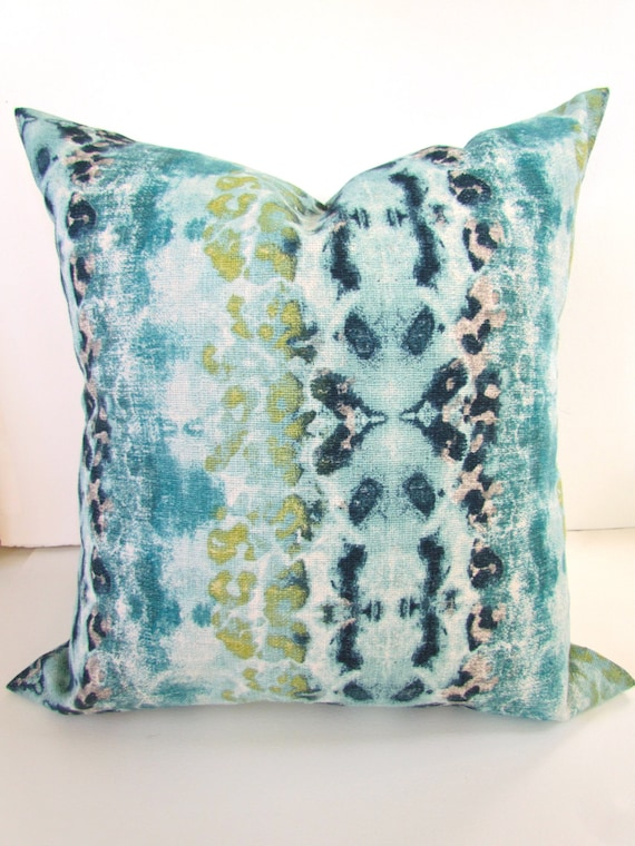 Decorative Pillows Blue Green : DARK BLUE PILLOW 18x18 Decorative Throw Pillows Turquoise Teal Green Navy Blue Throw Pillow ...