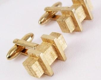 Vintage Modernist Goldtone Bars Cufflinks Brushed Industrial Wedding Birthday Business Signed Hickok USA