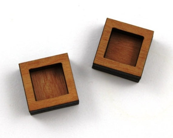 Laser Cut Supplies- 8 Pieces.Square Bezel Charms - Laser Cut Wood Bezel -Earring Supplies-  Little Laser Lab Sustainable Wood Products