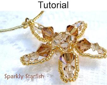 Beading Tutorial Pattern Pendant - Ocean Sea Jewelry - Simple Bead Patterns - Sparkly Starfish #313