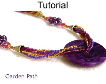 Beading Tutorial Pattern Necklace - Multi-Strand Beaded Jewelry - Simple Bead Patterns - Garden Path #1877