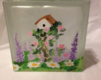 Hand Painted Glass Block  Lighted Bird house and Flowers Gift