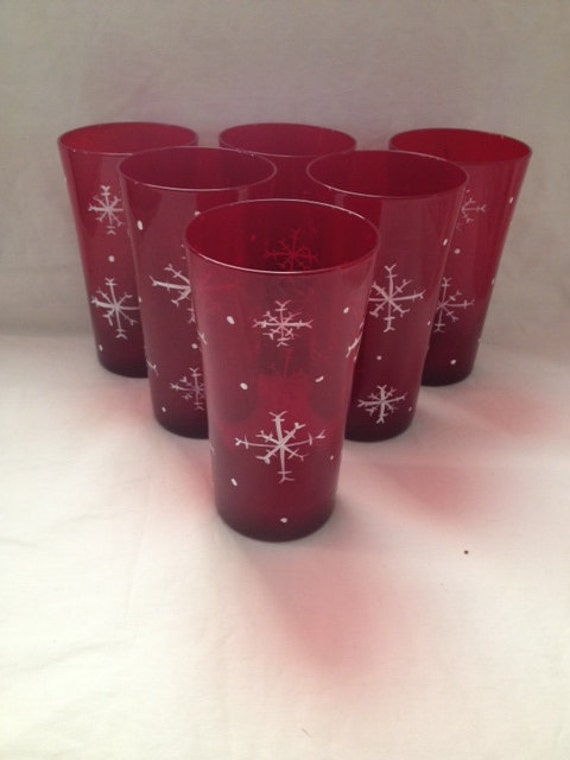 Red drinking glasses with hand painted snow flakes 16oz black for Hand painted drinking glasses