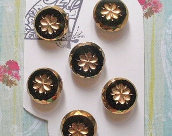 Lustre glass buttons, a set of 6, vintage, black glass with gold parti-lustre and a floral centre,  c1960's.