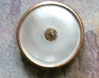 Waistcoat button, vintage, gilt, mother-of-pearl with a diamante centre, c1910's.