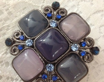 Blue and Gray Vintage Look Brooch