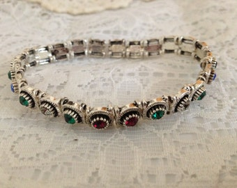 Stretchy Sterling Silver and Swarovski Bracelet