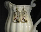 Bird motif of Antique Brass Metal/ Swarovski Crystals Siam AB color on Ear wires