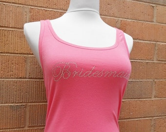 Pink Bridesmaid Tank Top. Rhinestone Wedding Party Jersey Tank Top. Bride, Maid of Honor. Wedding Bridal Party Jesey Tanks. Bachelorette