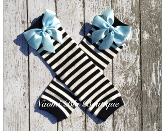 Alice in Wonderland Inspired Leg Warmers Leggings. Black white striped with bow. Birthdays, photo props costumes