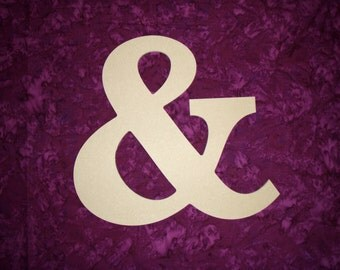 "Ampersand & Symbol Wooden Letters Unfinished Wood Letter 18"" Inch Tall Paintable"