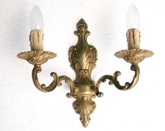Gilted WALL SCONCE Vintage lazge French  Ornate French Bronze fixture