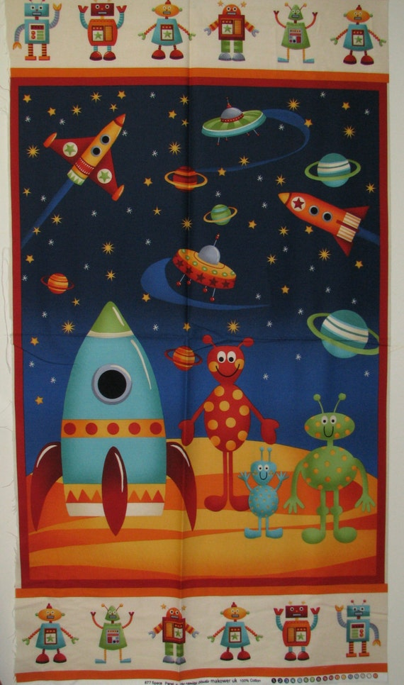 Space fabric panel alien robots rockets flying by for Planet print fabric