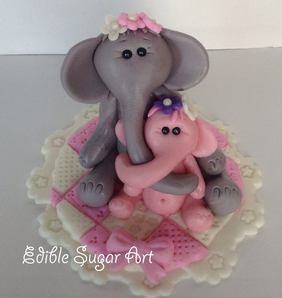 Edible Elephant Cake Decorations : Edible Elephant Cake Topper Baby Shower Baptism Christening