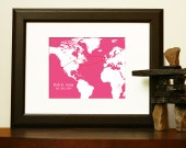 WEDDING GIFT - World Custom Map with hearts to celebrate an engagement, wedding, anniversary, or other special occasion