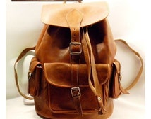 Hand-Stitched Leather Backpack Purse with three handy pockets. Rucksack, Satchel Backpack, Travel Backpack