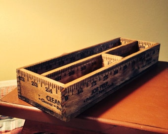 Sewing Notions Ruler Box 3 Section, Storage, Desk Accessory, Hand Crafted