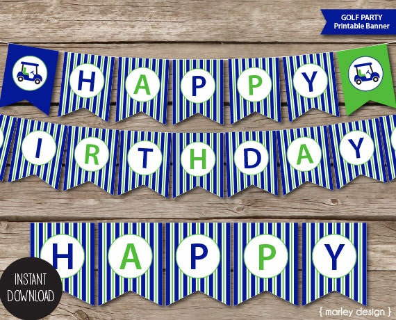 Printable Golf Party Happy Birthday Banner Instant Download